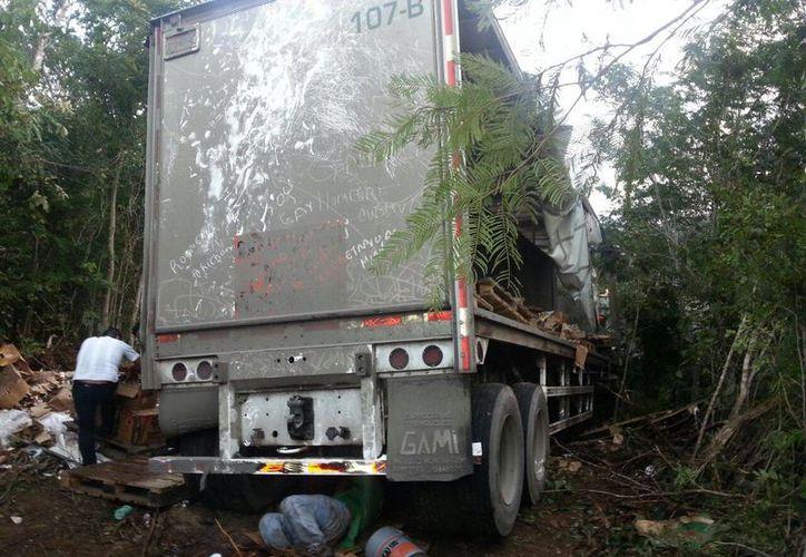 El camión de doble remolque quedó en la maleza. (Redacción/SIPSE)