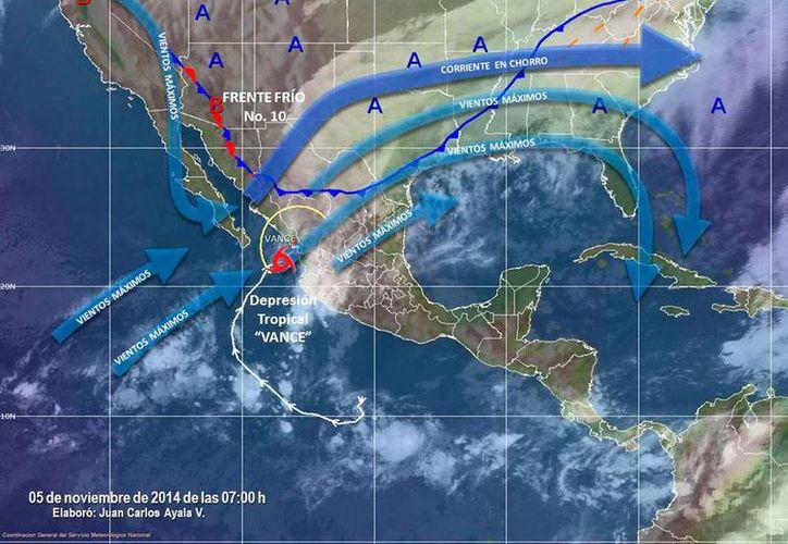 Imagen de los diversos sistemas climáticos que afectan al país. (Conagua)
