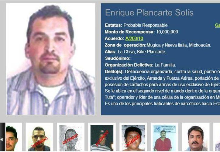 La PGR ofrecía 10 millones de pesos por Enrique Plancarte Solís, también conocido como 'La Chiva'. (recompensas.gob.mx)