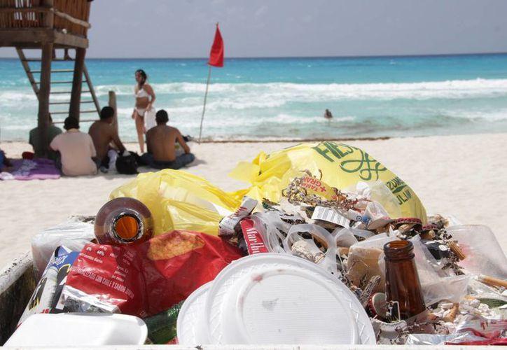 La basura se trató de envolturas de plástico, vidrio y bolsas desechables. (Luis Soto/SIPSE)