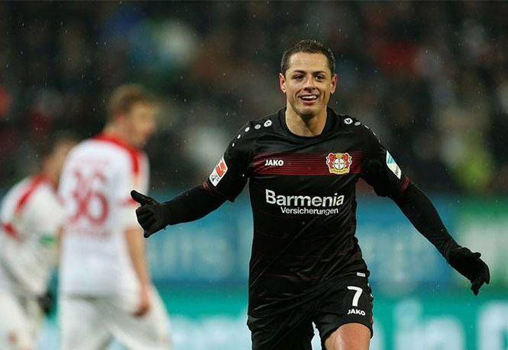 Javier 'Chicharito' Hernández anotó dos goles ante Ausburgo, y ahora suma cinco tantos en sus últimos tres partidos. (Foto tomada de @bayer04_es)