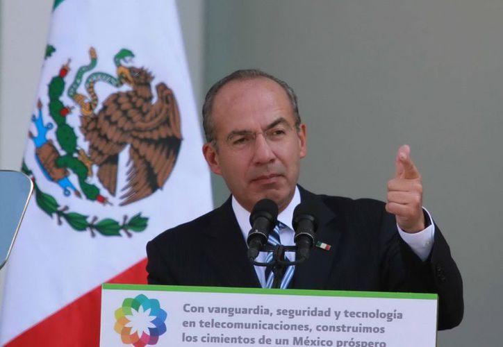 El presidente Felipe Calderón Hinojosa encabezó esta mañana su última reunión de trabajo. (Archivo/Notimex)