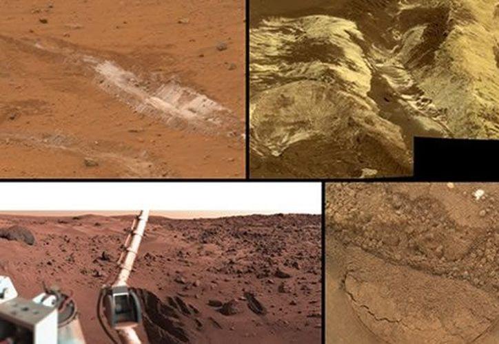 Algunas imágenes del suelo marciano captadas por el Curiosity. (CNN)